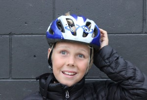 Checking the safety of your Helmet- Sam checks for helmet movement